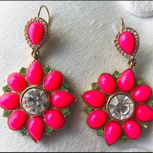 Juicy Couture Hot Pink Jewel Drop Flower Earrings